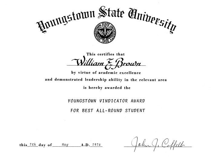 Youngstown State University Vindicator Award for Best All-Round Student